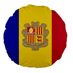 National Flag Of Andorra  Large 18  Premium Flano Round Cushions by abbeyz71