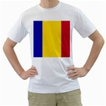 Civil Flag of Andorra Men s T-Shirt (White) (Two Sided) Front