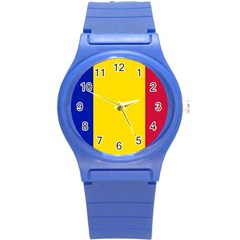 Civil Flag Of Andorra Round Plastic Sport Watch (s) by abbeyz71