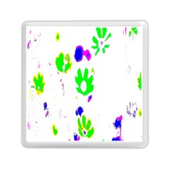 Green Flowers Pattern Memory Card Reader (square)  by bywhacky