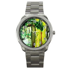 Old Tree And House With An Arch 8 Sport Metal Watch by bestdesignintheworld