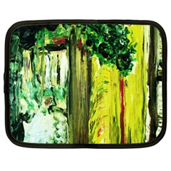 Old Tree And House With An Arch 8 Netbook Case (xl)  by bestdesignintheworld
