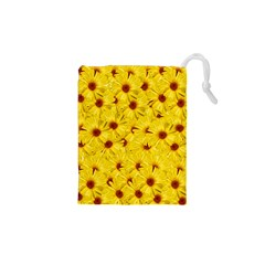 Yellow Flowers Drawstring Pouches (xs)  by girleyjanedesigns