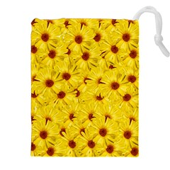 Yellow Flowers Drawstring Pouches (xxl) by girleyjanedesigns