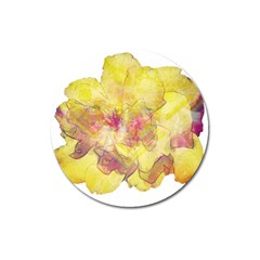 Yellow Rose Magnet 3  (round) by aumaraspiritart