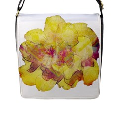 Yellow Rose Flap Messenger Bag (l)  by aumaraspiritart