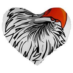 Animal Bird Cartoon Comic Eagle Large 19  Premium Heart Shape Cushions by Simbadda