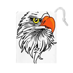 Animal Bird Cartoon Comic Eagle Drawstring Pouches (large)  by Simbadda