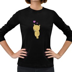 Cute Bear Cartoon Women s Long Sleeve Dark T Shirts by Simbadda
