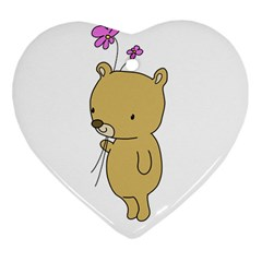 Cute Bear Cartoon Heart Ornament (two Sides)