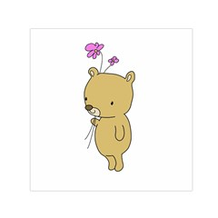 Cute Bear Cartoon Small Satin Scarf (square)