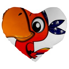 Bird Cartoon Character Parrot Large 19  Premium Heart Shape Cushions by Simbadda