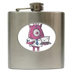 Business Education Logo Monster Hip Flask (6 Oz) by Simbadda