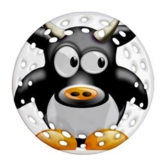 Cow Animal Mammal Cute Tux Round Filigree Ornament (two Sides)