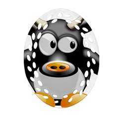 Cow Animal Mammal Cute Tux Oval Filigree Ornament (two Sides)