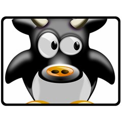 Cow Animal Mammal Cute Tux Double Sided Fleece Blanket (large)