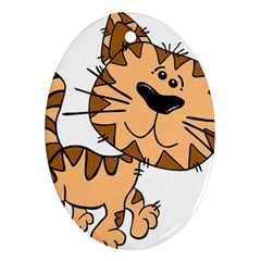 Cats Kittens Animal Cartoon Moving Ornament (oval)