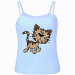 Cats Kittens Animal Cartoon Moving Baby Blue Spaghetti Tank Front