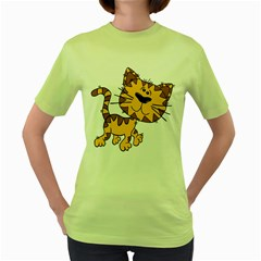 Cats Kittens Animal Cartoon Moving Women s Green T Shirt