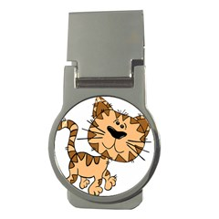 Cats Kittens Animal Cartoon Moving Money Clips (round)