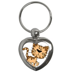 Cats Kittens Animal Cartoon Moving Key Chains (heart)