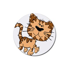 Cats Kittens Animal Cartoon Moving Rubber Round Coaster (4 Pack)