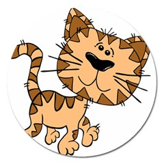 Cats Kittens Animal Cartoon Moving Magnet 5  (round)