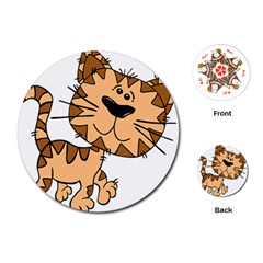 Cats Kittens Animal Cartoon Moving Playing Cards (round)