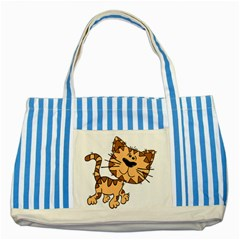 Cats Kittens Animal Cartoon Moving Striped Blue Tote Bag by Simbadda