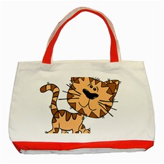 Cats Kittens Animal Cartoon Moving Classic Tote Bag (red) by Simbadda