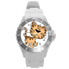 Cats Kittens Animal Cartoon Moving Round Plastic Sport Watch (l)