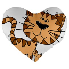 Cats Kittens Animal Cartoon Moving Large 19  Premium Heart Shape Cushions