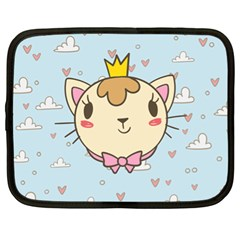 Cat Cloud Heart Texture Kitten Netbook Case (xl)  by Simbadda
