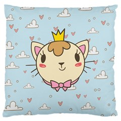 Cat Cloud Heart Texture Kitten Standard Flano Cushion Case (two Sides)