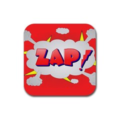 Comic Bubble Popart Cartoon Action Rubber Square Coaster (4 Pack)