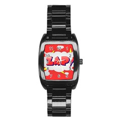 Comic Bubble Popart Cartoon Action Stainless Steel Barrel Watch by Simbadda