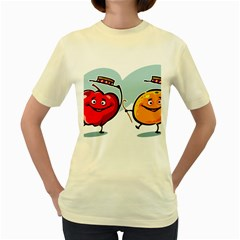 Dancing Fruit Apple Organic Fruit Women s Yellow T Shirt by Simbadda