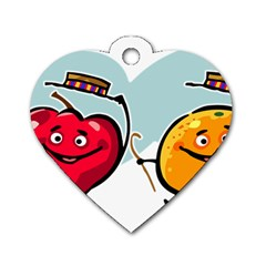 Dancing Fruit Apple Organic Fruit Dog Tag Heart (one Side)