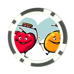 Dancing Fruit Apple Organic Fruit Poker Chip Card Guard