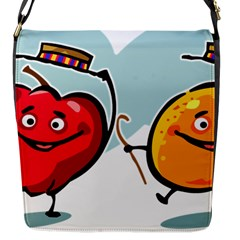 Dancing Fruit Apple Organic Fruit Flap Messenger Bag (s)