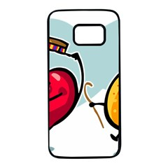 Dancing Fruit Apple Organic Fruit Samsung Galaxy S7 Black Seamless Case by Simbadda