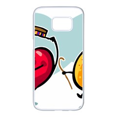 Dancing Fruit Apple Organic Fruit Samsung Galaxy S7 Edge White Seamless Case by Simbadda