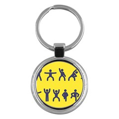 Gymnast Stick Man Man Stick Key Chains (round)