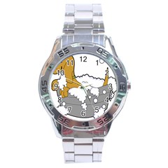 Dog Bath Grooming Stainless Steel Analogue Watch
