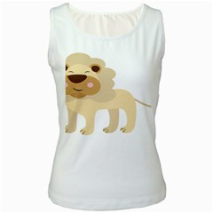 Lion Cute Sketch Funny Women s White Tank Top by Simbadda