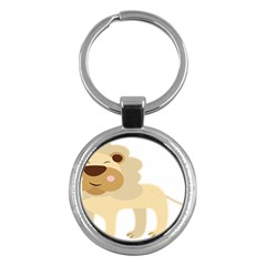Lion Cute Sketch Funny Key Chains (round)  by Simbadda