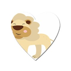 Lion Cute Sketch Funny Heart Magnet by Simbadda