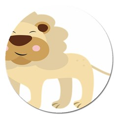 Lion Cute Sketch Funny Magnet 5  (round) by Simbadda