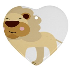 Lion Cute Sketch Funny Heart Ornament (two Sides) by Simbadda