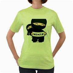 Ninja Baby Parent Cartoon Japan Women s Green T Shirt